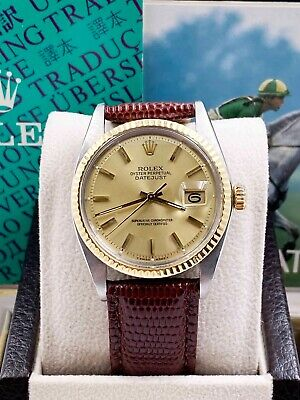 $ CDN4958.74 • Buy Rolex Datejust 1601 Champagne 18K Yellow Gold Stainless Leather Band Box Booklet
