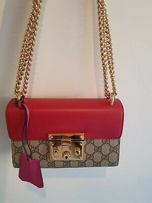 AU1750 • Buy Gucci Pre-owned Padlock Small GG Supreme Shoulder Bag Red/Pink