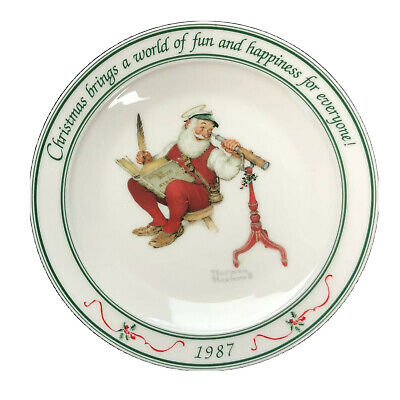 $ CDN26.17 • Buy Hallmark Norman Rockwell Christmas Santa Collector Plates Lot Of 2 1985 1987