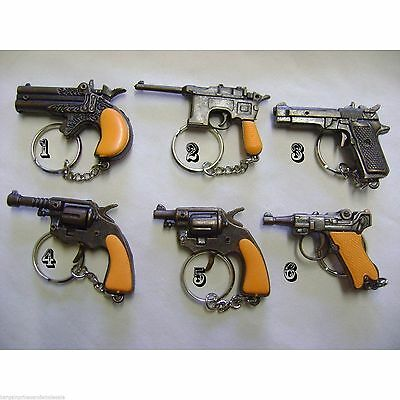 6 Design To Choose Die Cast Novelty Miniature Solid Metal Gun Keyrings Cap Gun  • 2.95£