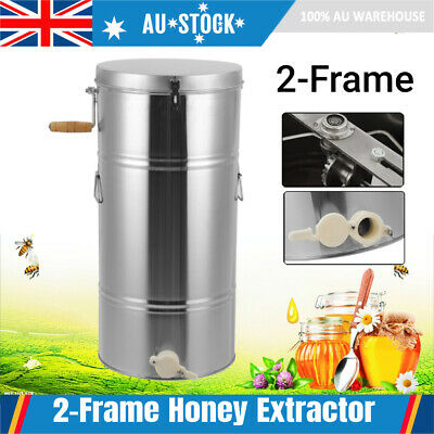 AU144.89 • Buy 2 Frame Stainless Steel Manual Bee Honey Extractor Spinner Beekeeping W/ Outlet