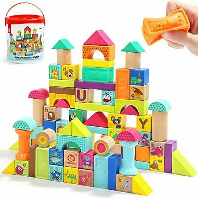 TOP BRIGHT Wooden Building Blocks For Toddlers 1 2 3 Year Old Baby Toys, Kids • 33.99£