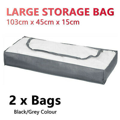 AU20.95 • Buy  2x Underbed Storage Bag Large Zipper 103x45cm Organiser Travel Closet Wardrobe