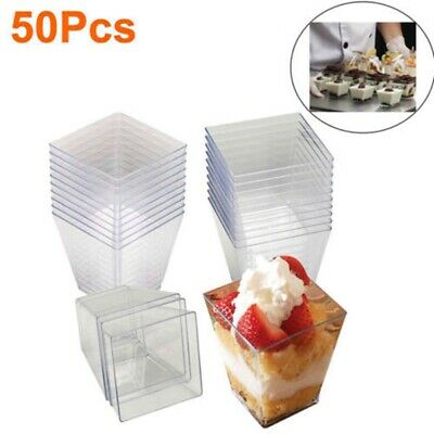 100x 2oz Square Dessert Cups Cube Plastic Clear Mousse Cup Birthday Party Decor • 6.29£