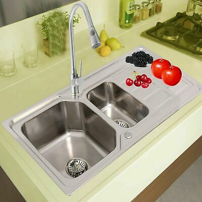 1.5 Double Bowl Kitchen Sink Stainless Steel Corrosion Resistant Dual Sink Basin • 69.95£