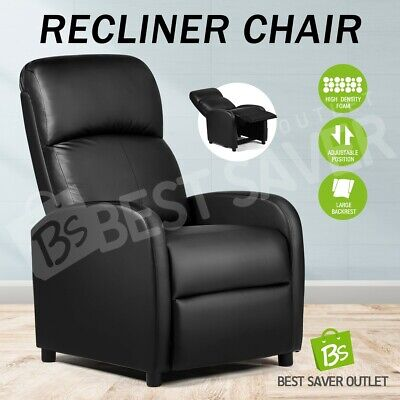 AU219.75 • Buy Recliner Chair Armchair Luxury Single Lounge Sofa Couch PU Leather Black