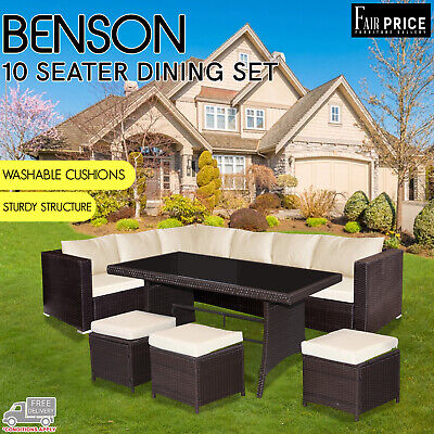 AU799 • Buy New Benson 5 Pcs Outdoor Garden Patio Furniture Brown Lounge Set 10 Seater