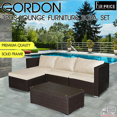AU499 • Buy New 3 Pcs Gordon Lounge Brown Setting Sofa Set Patio Garden Outdoor Furniture