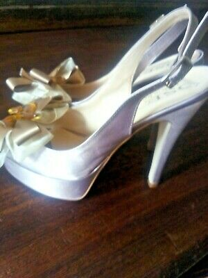NEW Italian Taupe Satin Platform Sling Back Shoes Size 38  With Jewelled Bows • 10£