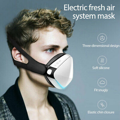 Air Purifier 4-Ply Smart Reusable Face Mask With Filtered Electric Turbine Fan U • 23.79£
