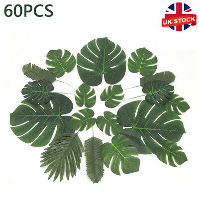 60X Tropical Artificial Palm Leaves Hawaiian Luau Jungle Beach Theme Party Decor • 8.39£