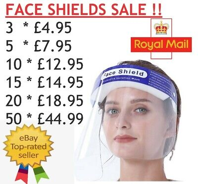 Cheapest Full Face Shield Visor Protection Mask Ppe Cover Clear Plastic  • 2.97£
