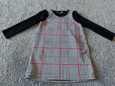 Primark Girls Black White Pink Dogtooth Check Dungaree Dress Set Outfit Age 5-6 • 3.20£