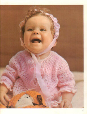 Crochet Pattern 1999. Baby Matinee Coat/jacket, Bootees, Hat.  0-6 Mth • 0.99£