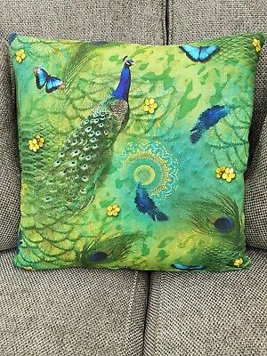 Green Peacock Feathers Designer Cushion Cover 16x16   • 9.99£