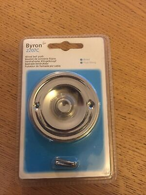 Round Chrome Door Bell Push Byron 2207C Wired Circular White Press Button New • 10£