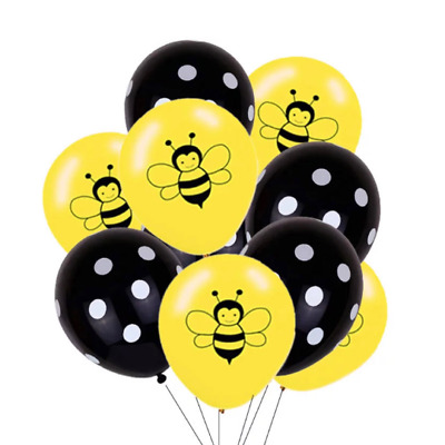 £8.54 • Buy 12 Pack Bee Theme Premium Balloons Bumble Honey Bees Party Decor Black Dots
