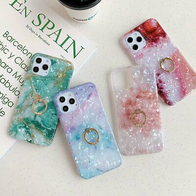 For IPhone 12 11 Pro Max 7 8 XR Marble Case Shell Ring Stand Holder Phone Cover • 4.25£