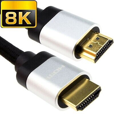 8K HDMI Cable V2.1 3D 2K 4K 8K HD Ultra Fast Speed HDR UHD 48Gbps Braided Lead • 9.99£