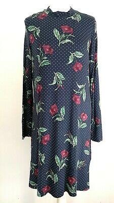 M&S Womens Ladies Navy Floral High Neck Jersey Winter Midi Dress Size 16 • 8.99£