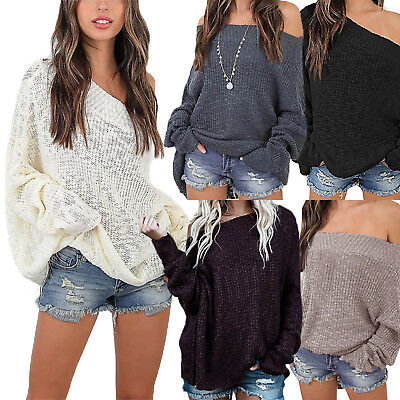 Womens Off The Shoulder Knit Sweater Lady Loose Jumper Pullover Tops Plus Size • 13.39£