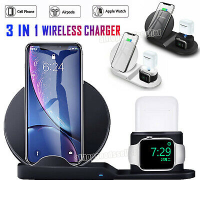 3 In 1 Qi Wireless Charger Dock Stand Station For Apple Watch 6 IPhone 12/12 Pro • 14.99£