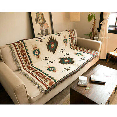 Vintage Indian Sofa Bed Throw Blanket Cotton Throwover Cover Tassels Couch Decor • 19.99£