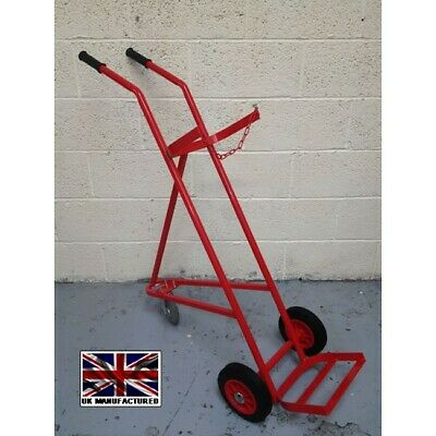 Single Gas Bottle Trolley OXYGEN Or ACETYLENE Cylinders With Solid Tyres • 279.99£