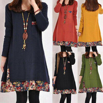AU14.24 • Buy ZANZEA Women Tunic Top Blouse Shirt Mini Jumper Dress Retro Vintage Floral Dress