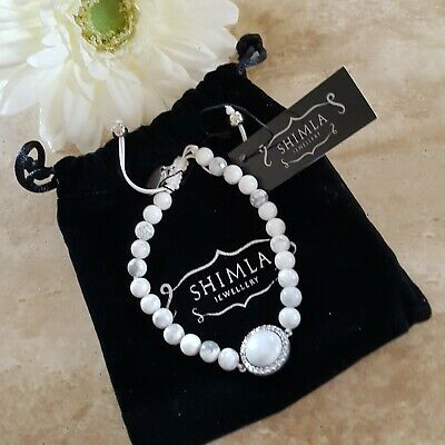 £6 • Buy Shimla Bracelet,  White And Grey Marbled With Crystals NEW