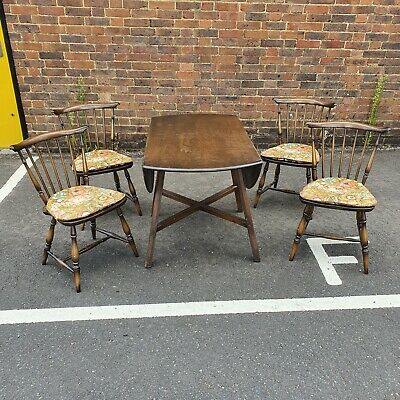 Dark Wooden Ercol Extending Dining Table And Four Chairs • 150£