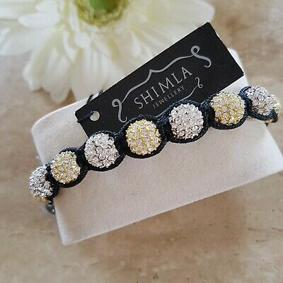 £10.50 • Buy Shimla Bracelet Gold And Silver Crystal And Black Cord NEW