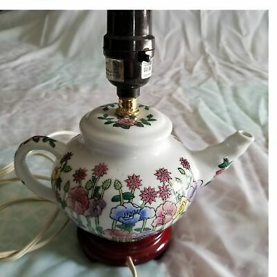 PORCELAIN FLORAL POPPIES TEAPOT Electric LAMP WOODEN BASE 9  • 23.98£