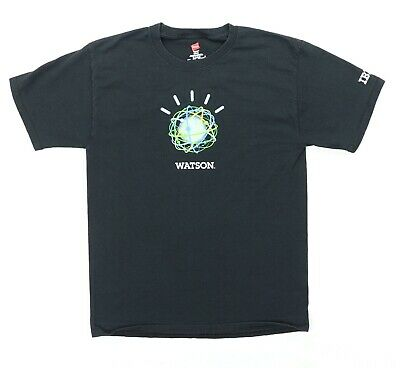 IBM Watson Adult Medium T Shirt Black Cotton IT Tech Technologies Logo • 14.31£
