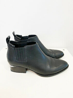 AU299 • Buy Designer Alexander Wang Size 38 Black Leather Cut Out Heel Cult Women's Boots