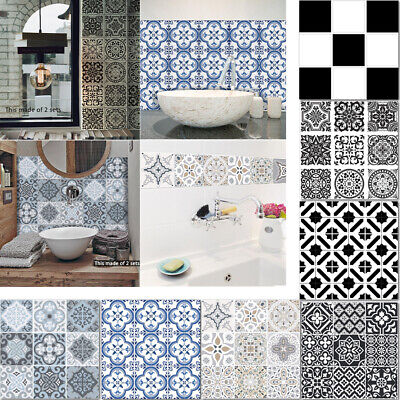 10x Moroccan Self-adhesive Bathroom Kitchen Wall Stair Floor Tile Sticker Decals • 5.95£