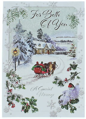 £3.49 • Buy To Both Of You Christmas Card Winter Scene Horse Drawn Sleigh Glitter Foil 10x7