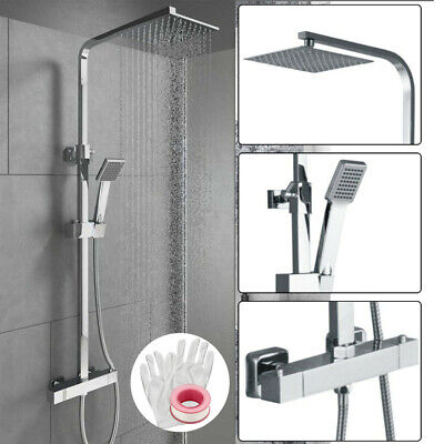 Chrome Thermostatic Shower Mixer Square Bathroom Exposed Twin Head Valve Set New • 64.99£