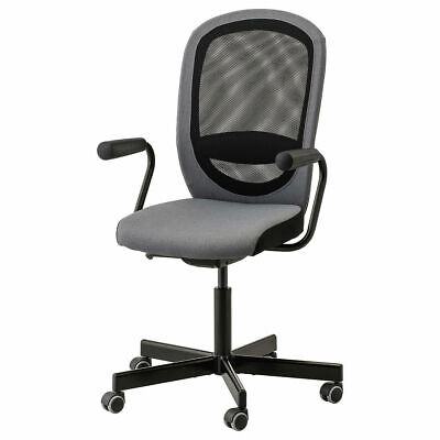 IKEA FLINTAN/NOMINELL Office Chair With Armrests 74x69 Cm Grey • 110.64£