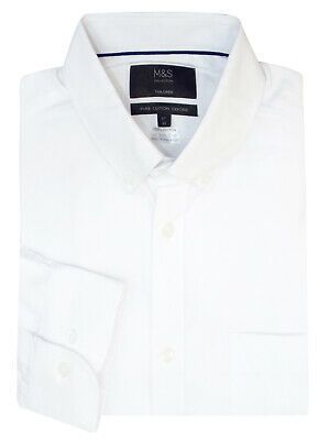 M & S Mens White Tailored Fit Pure Cotton Oxford Shirt Collar-Size 15.L To 18.5L • 15.95£