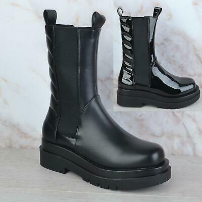 £24.99 • Buy Womens Ladies Chunky Platform Elasticated Padded Calf Chelsea Ankle Boots Size