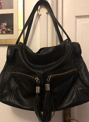 HOBBS 100% Italian Leather Large Black Shoulder City Bag With Crossbody Strap • 44.95£