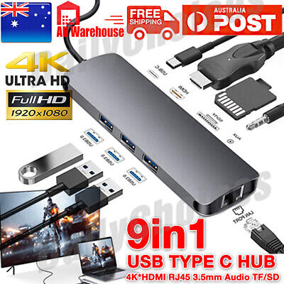 AU46.95 • Buy 9-in-1 To HDMI RJ45 USB C USB-c Type-C HUB Adapter Dock Macbook Windows PC