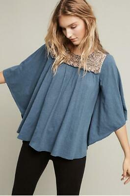 $ CDN58.57 • Buy Anthropologie Deletta Sz Large Josephine Embellished Top Blouse Blue Beaded New