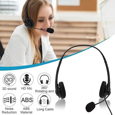 Mic Headphone For Laptops Desktop PC USB Stereo Wired Headset With Microphone • 11.59£