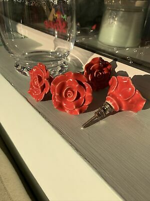 4 Vintage Ceramic Rose Flower Drawer Knobs Door Knobs Handles Dark Peachy/Red • 3.99£
