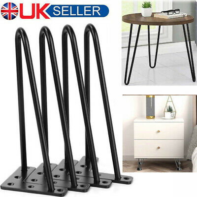 4X Metal Hairpin Table Legs 8  12  16  28  For Furniture Table Desk Bench Feet • 27.99£