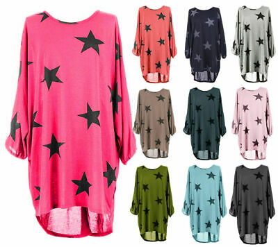 Womens Star Print Batwing Sleeve High Low Ladies Oversized Baggy Dress Top • 9.85£