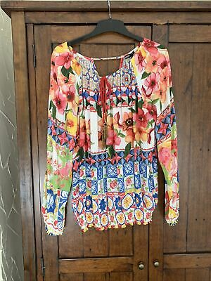 Desigual Long Sleeve Blouse Oversized Multi Floral Print Top Size M • 8.50£