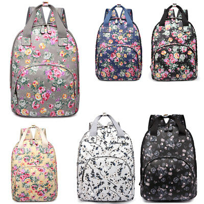 Matt Oilcloth Floral Ladies Girls School Backpack Shoulder Laptop Bag Travel • 11.69£